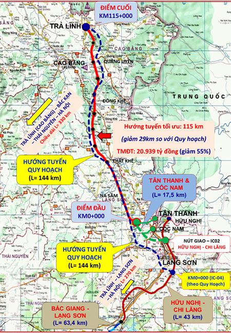 Hướng tuyến cao tốc Đồng Đăng - Trà Lĩnh (màu đỏ) rút  ngắn so với quy hoạch cũ (màu xanh).