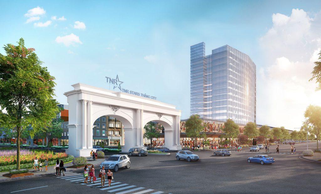 Phối cảnh cổng chính dự án TNR Stars Thắng City mặt tiền tỉnh lộ 296 – đang gấp rút thi công